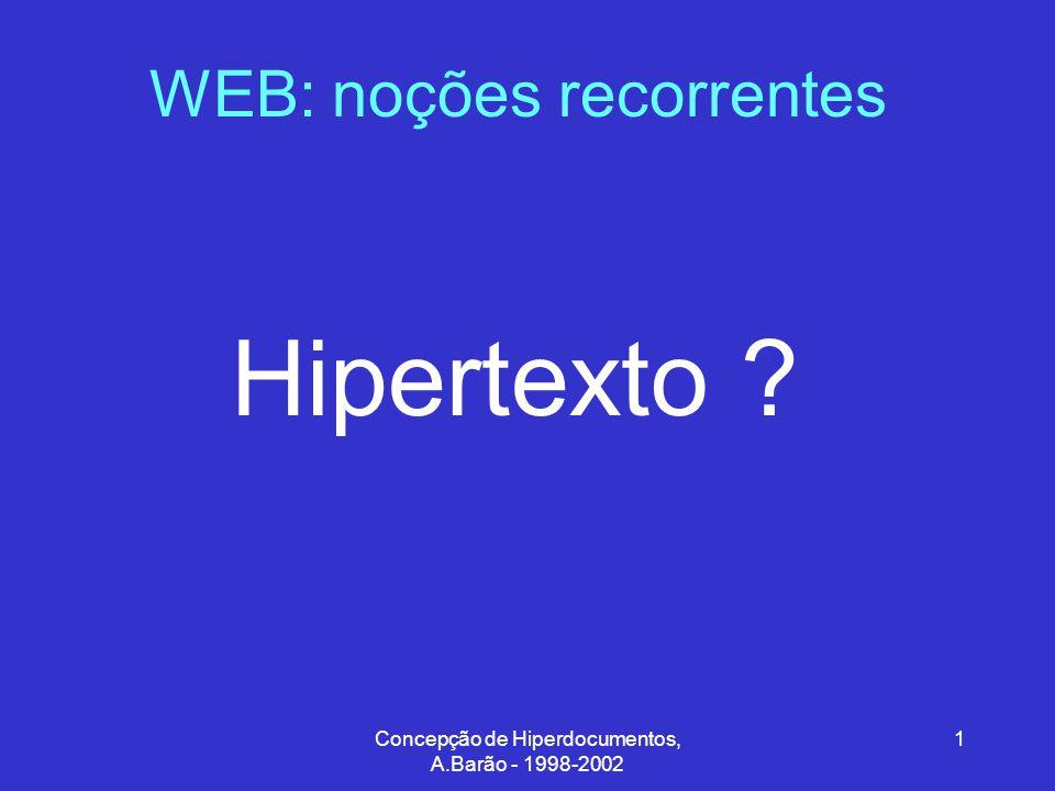 Concepção de Hiperdocumentos, A.Barão - 1998-2002 2 WEB: noções recorrentes Documentos Hipertexto Documentos electrónicos com zonas activas que podem agir como ligações para outros documentos links
