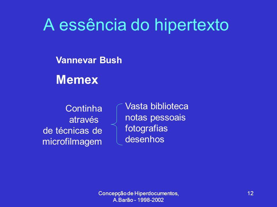Concepção de Hiperdocumentos, A.Barão - 1998-2002 12 A essência do hipertexto Memex Vannevar Bush Vasta biblioteca notas pessoais fotografias desenhos Continha através de técnicas de microfilmagem