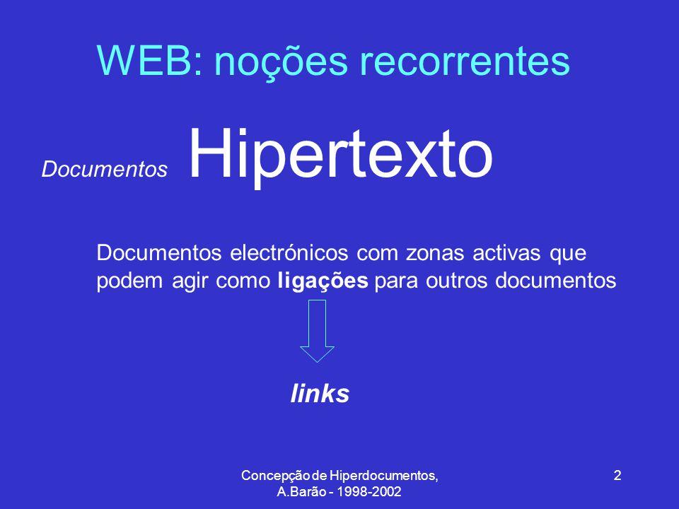 Concepção de Hiperdocumentos, A.Barão - 1998-2002 3 WEB: noções recorrentes Hipertexto Texto não linear Conjunto de relações estabelecidas pelo utilizador, entre diversos elementos de texto, que podem ser manipulados interactivamente e de uma forma não sequencial.