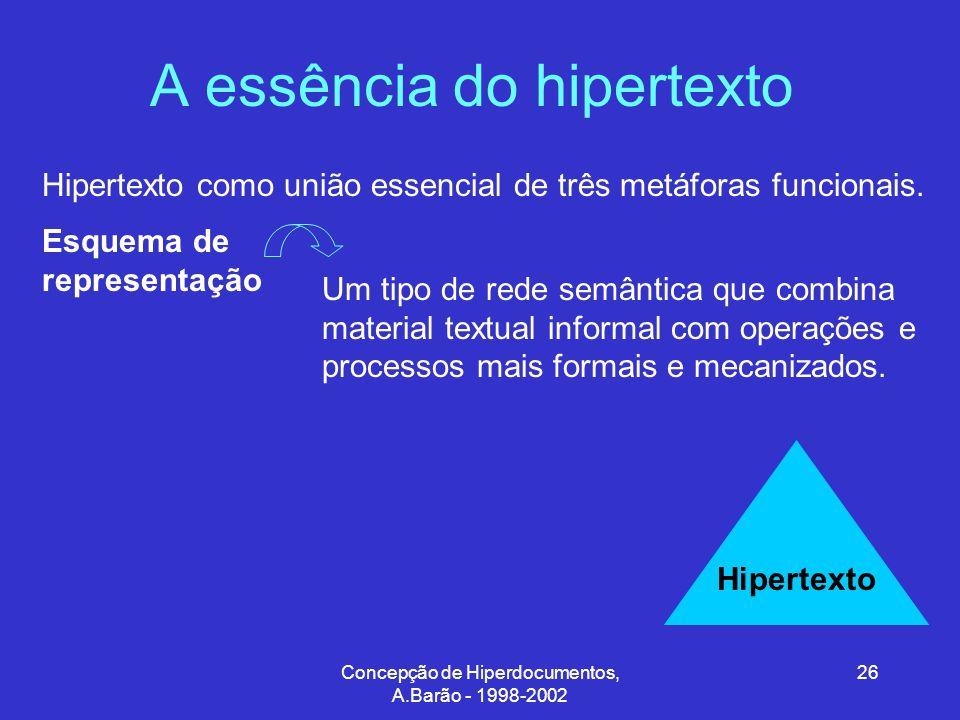 Concepção de Hiperdocumentos, A.Barão - 1998-2002 26 A essência do hipertexto Hipertexto como união essencial de três metáforas funcionais.