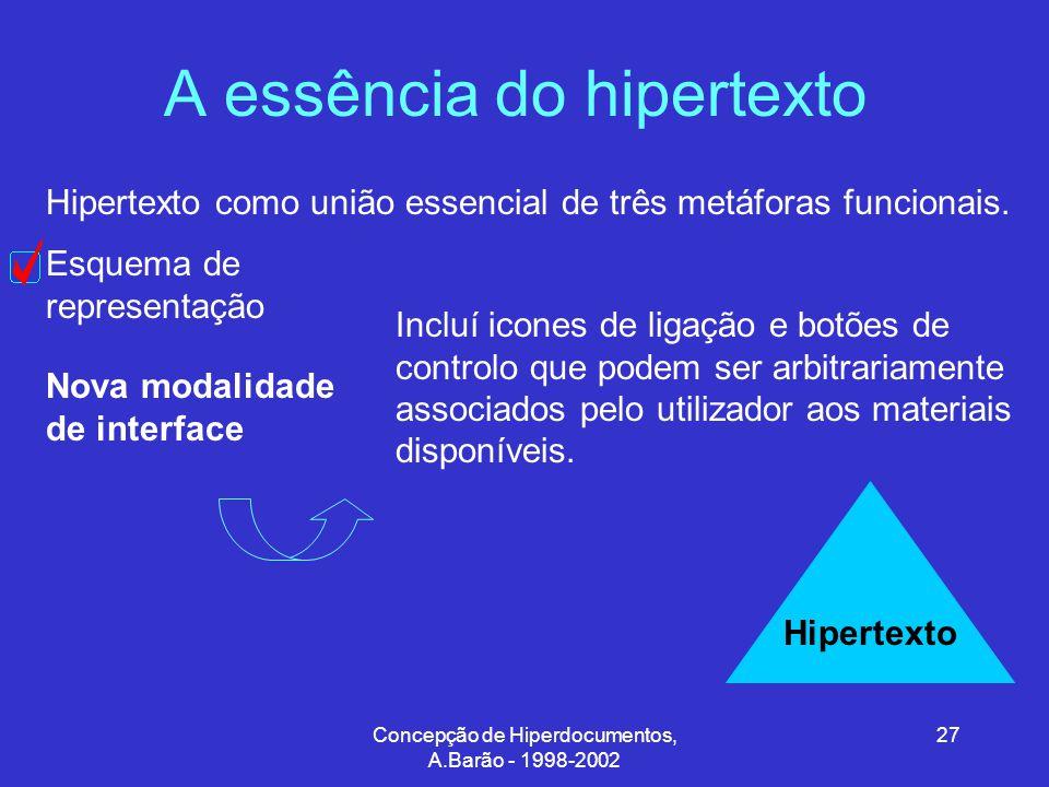 Concepção de Hiperdocumentos, A.Barão - 1998-2002 27 A essência do hipertexto Hipertexto como união essencial de três metáforas funcionais.
