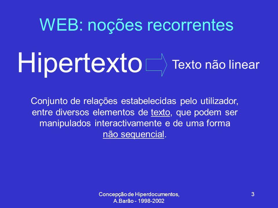 Concepção de Hiperdocumentos, A.Barão - 1998-2002 34 Hipertexto/Hipermédia: requisitos gerais Base de dados Métodos de Pesquisa (2) Por pesquisa directa Pesquisa na rede (ou parte dela) de uma cadeia de caracteres, palavra-chave ou valor de atributo.