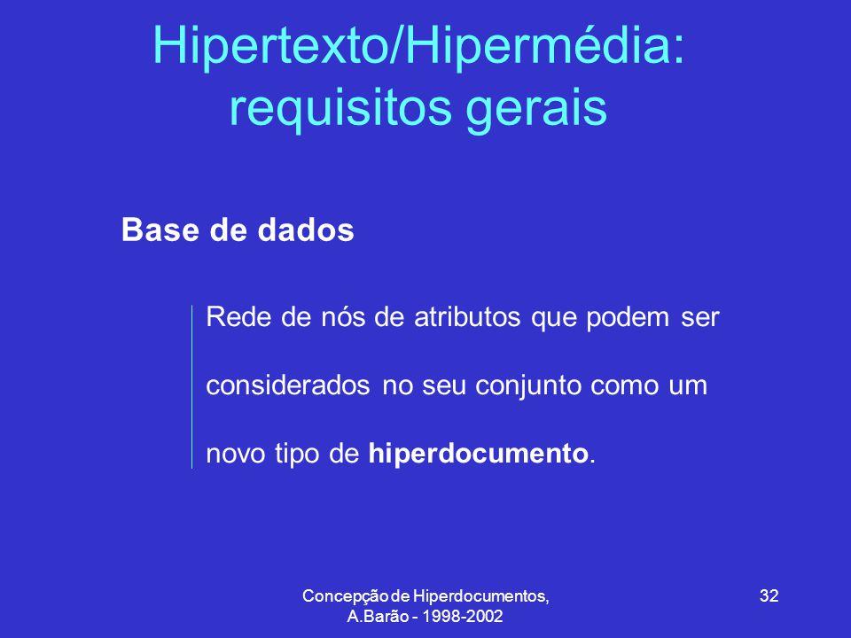 Concepção de Hiperdocumentos, A.Barão - 1998-2002 32 Hipertexto/Hipermédia: requisitos gerais Base de dados Rede de nós de atributos que podem ser considerados no seu conjunto como um novo tipo de hiperdocumento.