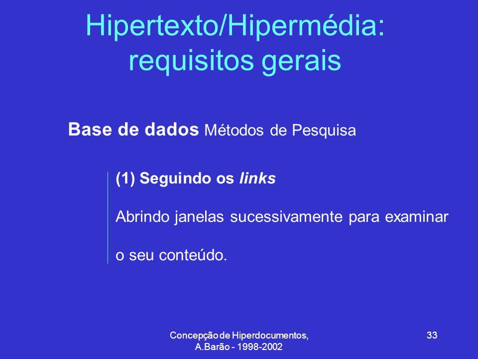Concepção de Hiperdocumentos, A.Barão - 1998-2002 33 Hipertexto/Hipermédia: requisitos gerais Base de dados Métodos de Pesquisa (1) Seguindo os links Abrindo janelas sucessivamente para examinar o seu conteúdo.