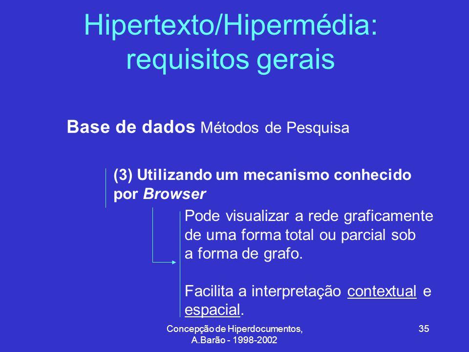 Concepção de Hiperdocumentos, A.Barão - 1998-2002 35 Hipertexto/Hipermédia: requisitos gerais Base de dados Métodos de Pesquisa (3) Utilizando um mecanismo conhecido por Browser Pode visualizar a rede graficamente de uma forma total ou parcial sob a forma de grafo.