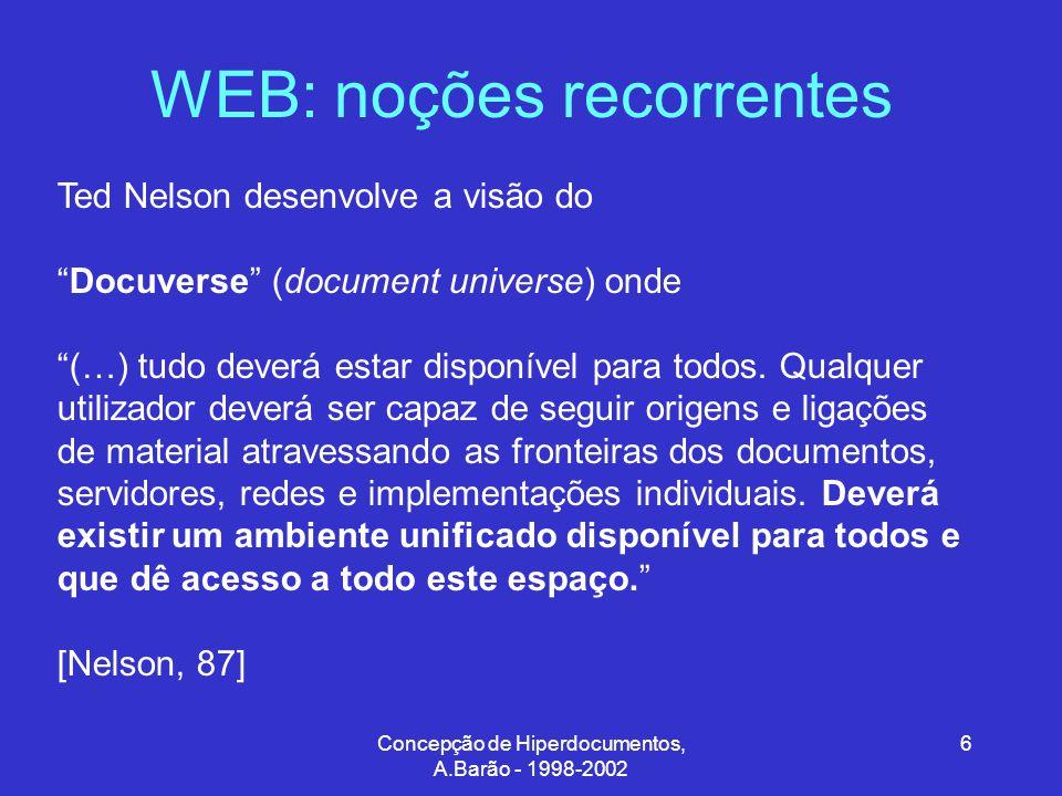Concepção de Hiperdocumentos, A.Barão - 1998-2002 6 WEB: noções recorrentes Ted Nelson desenvolve a visão do Docuverse (document universe) onde (…) tudo deverá estar disponível para todos.