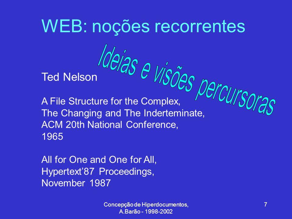 Concepção de Hiperdocumentos, A.Barão - 1998-2002 38 Hipertexto/Hipermédia: requisitos gerais Janelas Atributos intuitivos posição tamanho cor padrão (…) Pistas para o utilizador se lembrar do conteúdo informativo