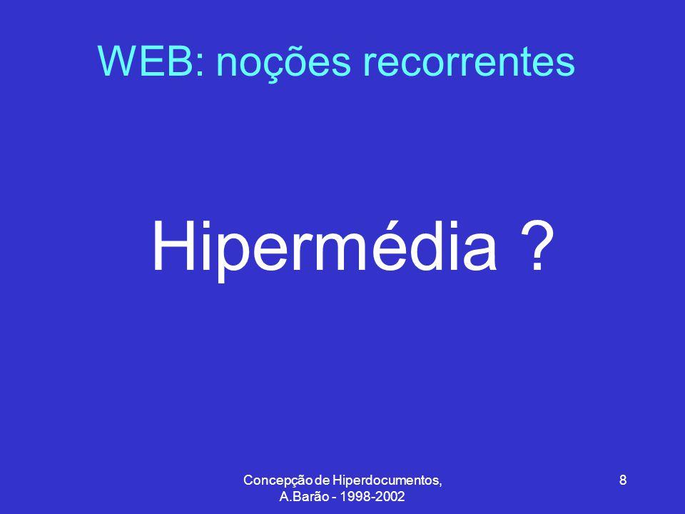 Concepção de Hiperdocumentos, A.Barão - 1998-2002 8 WEB: noções recorrentes Hipermédia ?