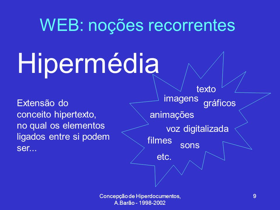 Concepção de Hiperdocumentos, A.Barão - 1998-2002 30 Hipertexto/Hipermédia: conceitos fundamentais Segundo Jeff Conklin o conceito de hipertexto é simples: janelas no ecrã estão associadas com objectos numa base de dados existindo ligações gráficas (símbolos etiquetados) e ligações a bases de dados (ponteiros).