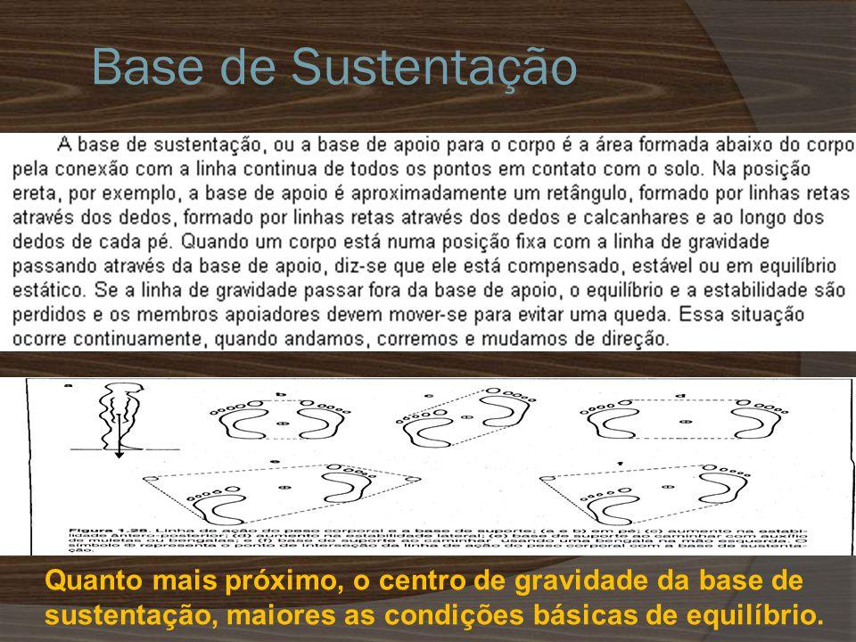 Base de Sustentação Quanto mais próximo, o centro de gravidade da base de sustentação, maiores as condições básicas de equilíbrio.
