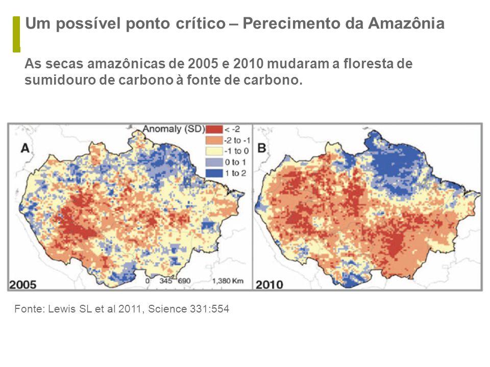 Um possível ponto crítico – Perecimento da Amazônia  As secas amazônicas de 2005 e 2010 mudaram a floresta de sumidouro de carbono à fonte de carbono.