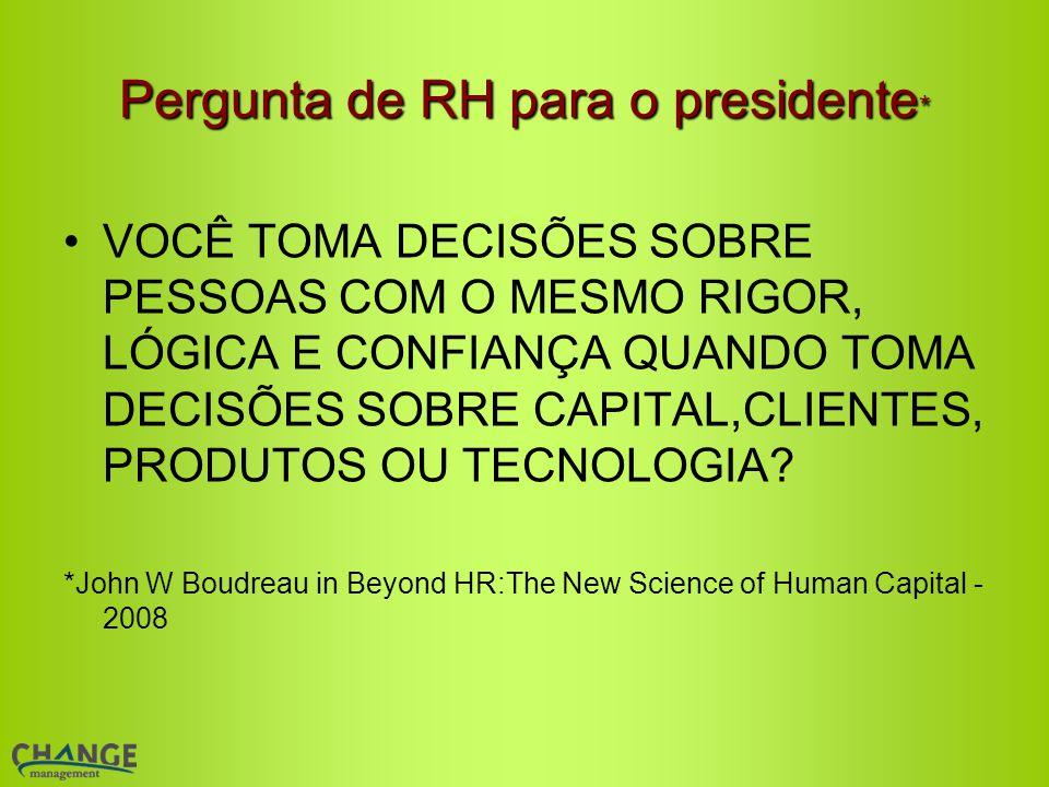 Pergunta de RH para o presidente * VOCÊ TOMA DECISÕES SOBRE PESSOAS COM O MESMO RIGOR, LÓGICA E CONFIANÇA QUANDO TOMA DECISÕES SOBRE CAPITAL,CLIENTES, PRODUTOS OU TECNOLOGIA.