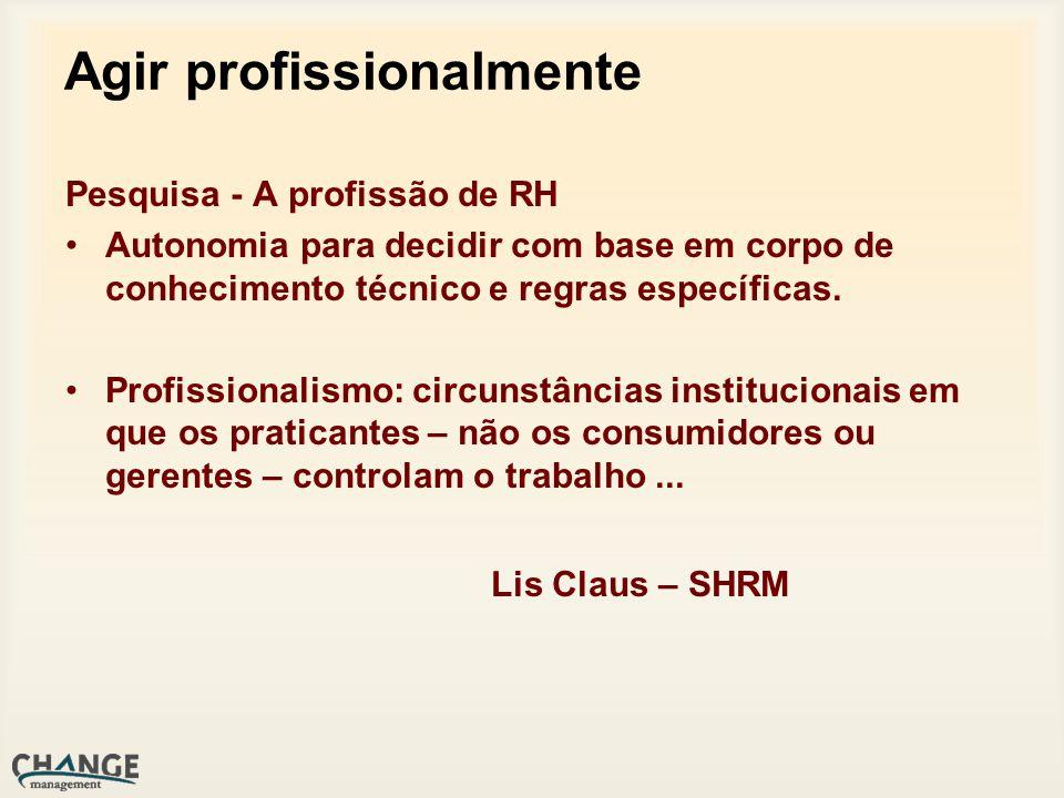 Agir profissionalmente Pesquisa - A profissão de RH Autonomia para decidir com base em corpo de conhecimento técnico e regras específicas.