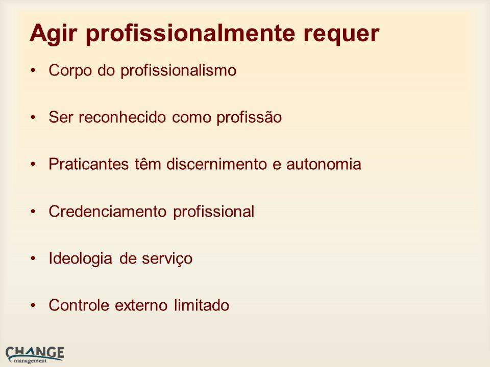 Agir profissionalmente requer Corpo do profissionalismo Ser reconhecido como profissão Praticantes têm discernimento e autonomia Credenciamento profissional Ideologia de serviço Controle externo limitado