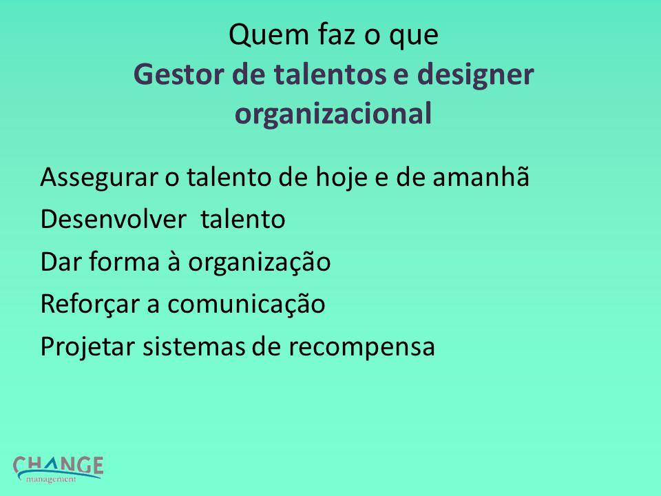 Quem faz o que Gestor de talentos e designer organizacional Assegurar o talento de hoje e de amanhã Desenvolver talento Dar forma à organização Reforçar a comunicação Projetar sistemas de recompensa
