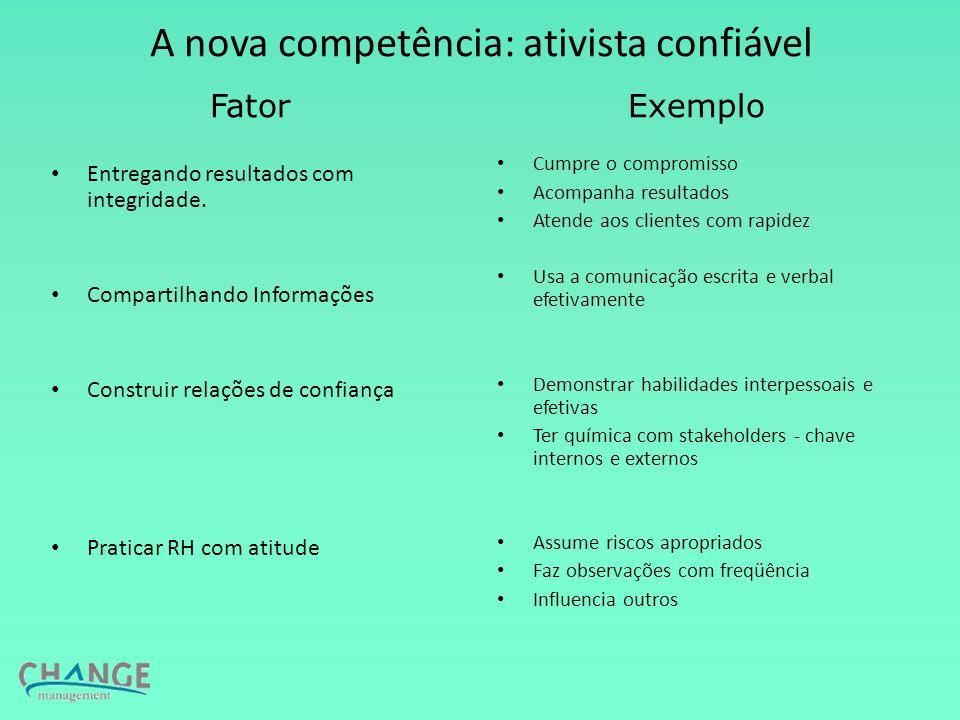 A nova competência: ativista confiável Entregando resultados com integridade.