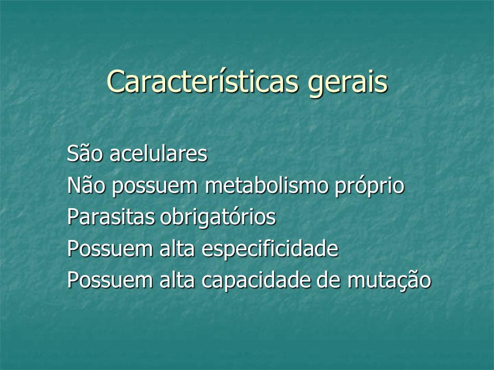 Características gerais São acelulares Não possuem metabolismo próprio Parasitas obrigatórios Possuem alta especificidade Possuem alta capacidade de mutação