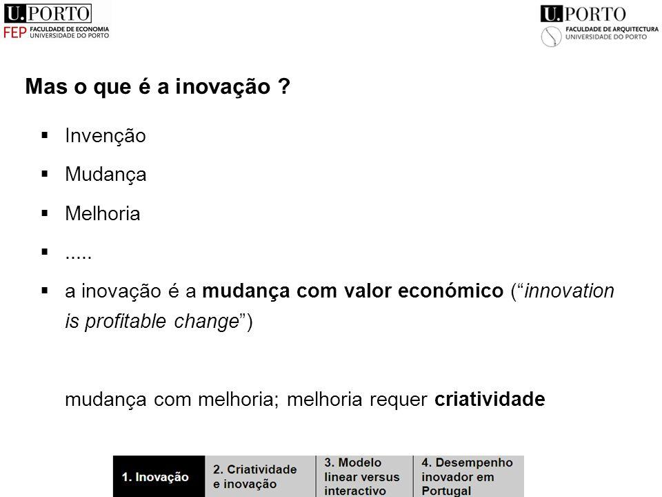 Mas o que é a inovação .  Invenção  Mudança  Melhoria .....