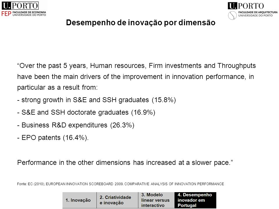 "Desempenho de inovação por dimensão ""Over the past 5 years, Human resources, Firm investments and Throughputs have been the main drivers of the improv"