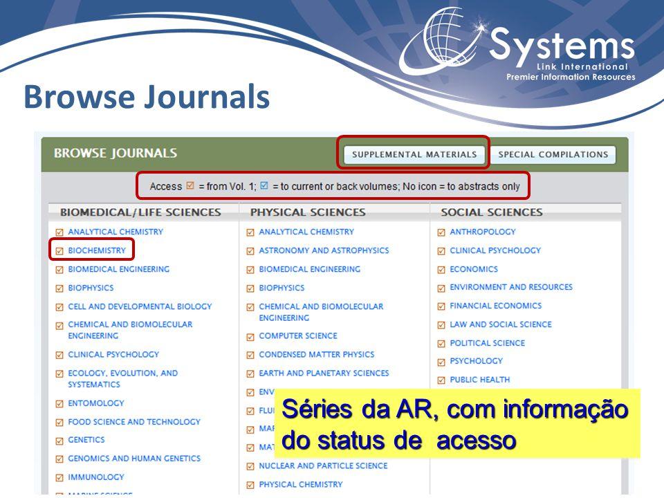 Browse Journals Séries da AR, com informação do status de acesso