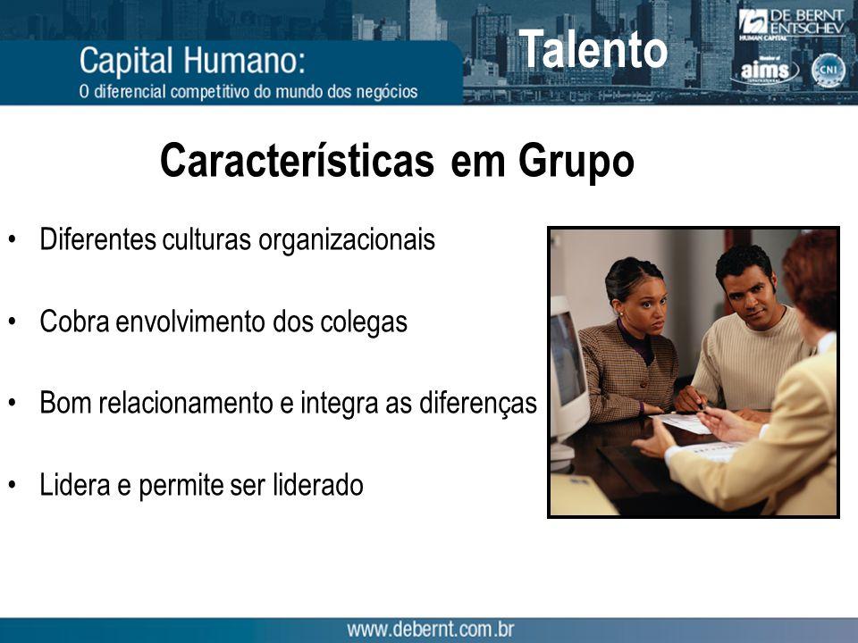 Características em Grupo Diferentes culturas organizacionais Cobra envolvimento dos colegas Bom relacionamento e integra as diferenças Lidera e permite ser liderado Talento