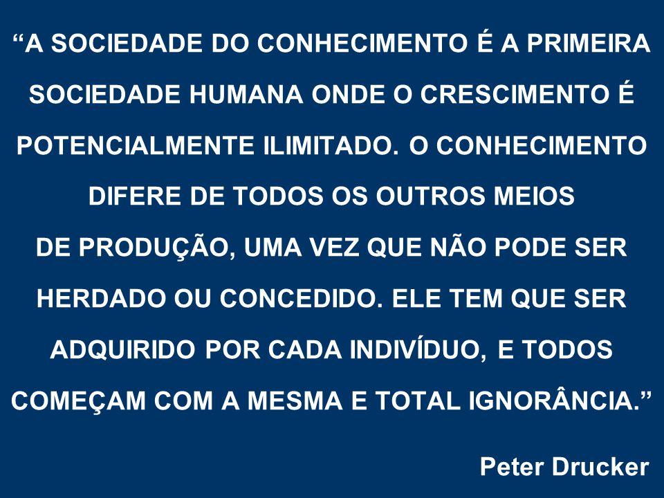 A SOCIEDADE DO CONHECIMENTO É A PRIMEIRA SOCIEDADE HUMANA ONDE O CRESCIMENTO É POTENCIALMENTE ILIMITADO.