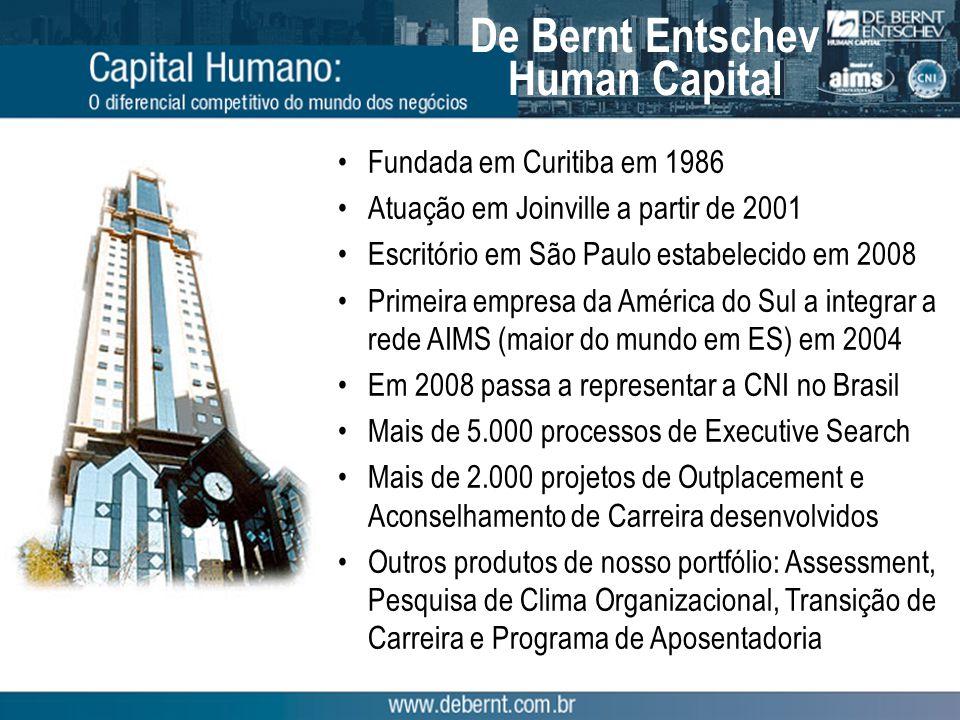 De Bernt Entschev Human Capital Fundada em Curitiba em 1986 Atuação em Joinville a partir de 2001 Escritório em São Paulo estabelecido em 2008 Primeira empresa da América do Sul a integrar a rede AIMS (maior do mundo em ES) em 2004 Em 2008 passa a representar a CNI no Brasil Mais de 5.000 processos de Executive Search Mais de 2.000 projetos de Outplacement e Aconselhamento de Carreira desenvolvidos Outros produtos de nosso portfólio: Assessment, Pesquisa de Clima Organizacional, Transição de Carreira e Programa de Aposentadoria