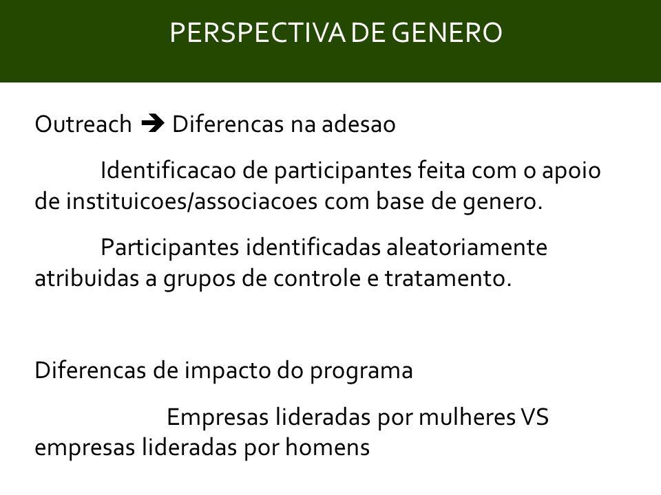 Title Outreach  Diferencas na adesao Identificacao de participantes feita com o apoio de instituicoes/associacoes com base de genero. Participantes i