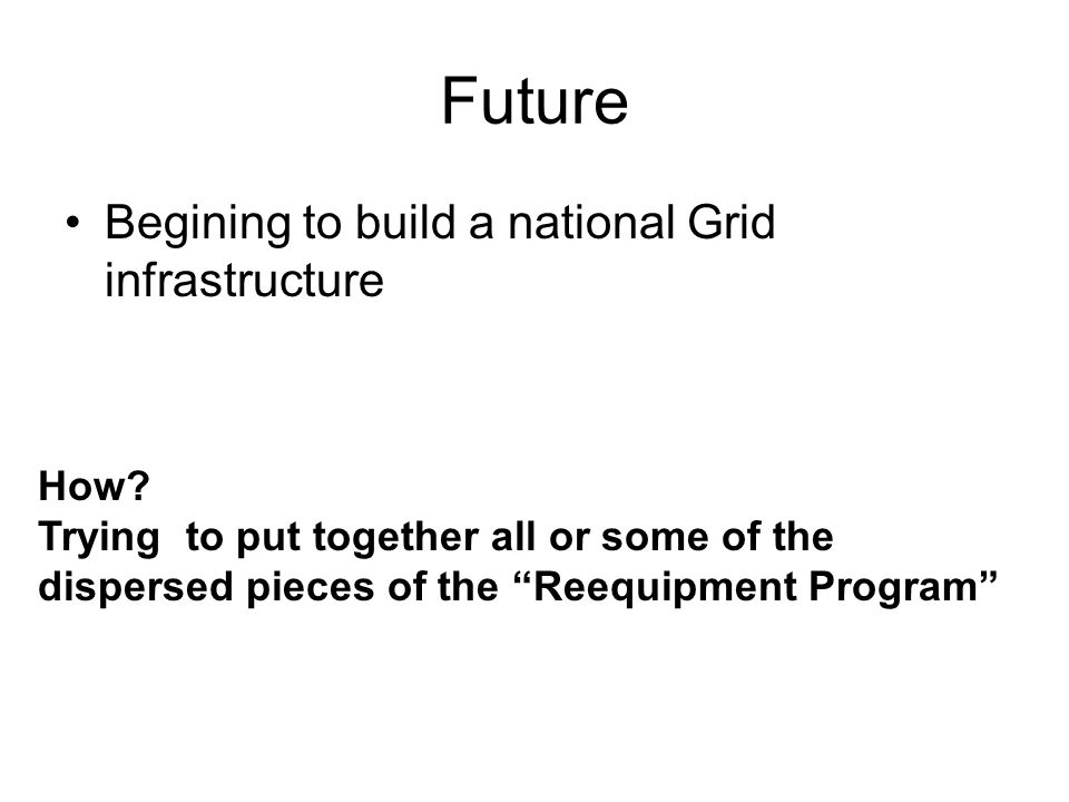 Future Begining to build a national Grid infrastructure How.