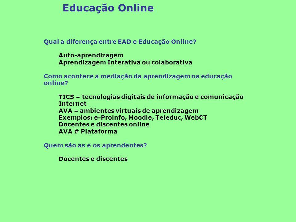 Educação Online Qual a diferença entre EAD e Educação Online? Auto-aprendizagem Aprendizagem Interativa ou colaborativa Como acontece a mediação da ap