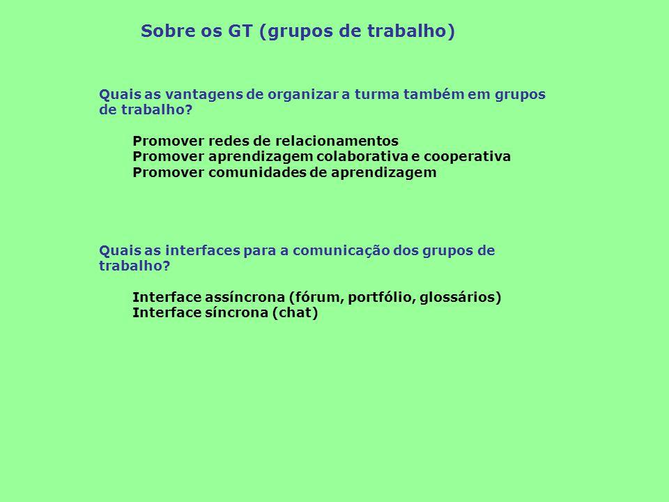Sobre os GT (grupos de trabalho) Quais as vantagens de organizar a turma também em grupos de trabalho? Promover redes de relacionamentos Promover apre