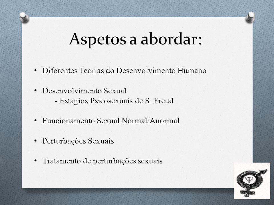 Aspetos a abordar: Diferentes Teorias do Desenvolvimento Humano Desenvolvimento Sexual - Estagios Psicosexuais de S.