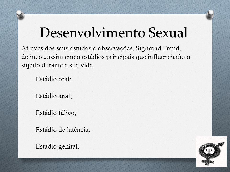Desenvolvimento Sexual Através dos seus estudos e observações, Sigmund Freud, delineou assim cinco estádios principais que influenciarão o sujeito durante a sua vida.