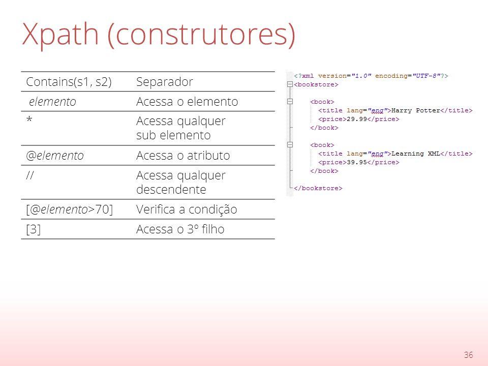 Xpath (construtores) 36 Contains(s1, s2)Separador elementoAcessa o elemento *Acessa qualquer sub elemento @elementoAcessa o atributo //Acessa qualquer descendente [@elemento>70]Verifica a condição [3]Acessa o 3º filho