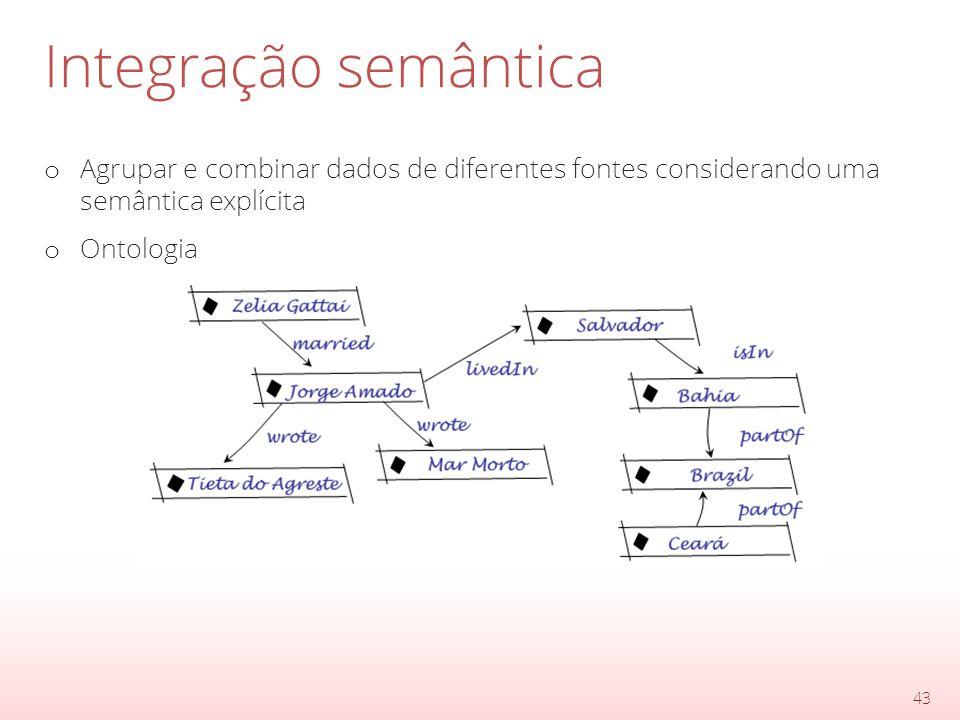 Integração semântica o Agrupar e combinar dados de diferentes fontes considerando uma semântica explícita o Ontologia 43