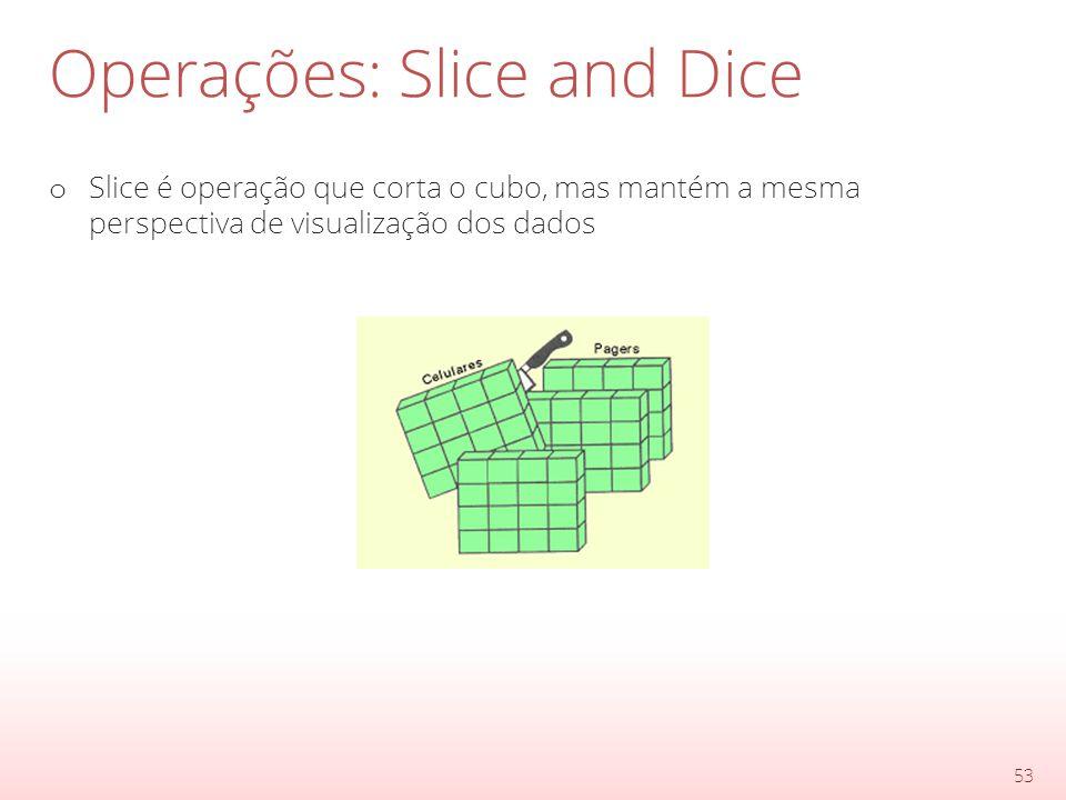 Operações: Slice and Dice o Slice é operação que corta o cubo, mas mantém a mesma perspectiva de visualização dos dados 53