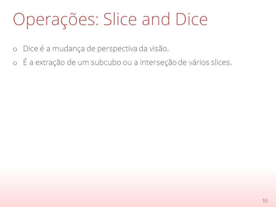Operações: Slice and Dice o Dice é a mudança de perspectiva da visão.