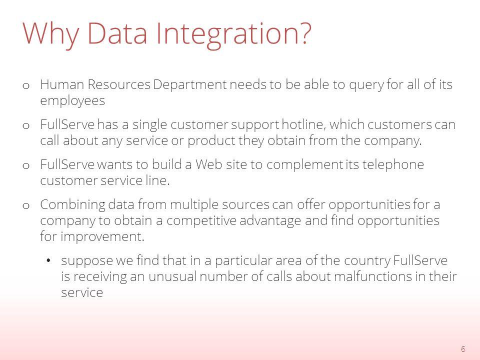 Why Data Integration? 7