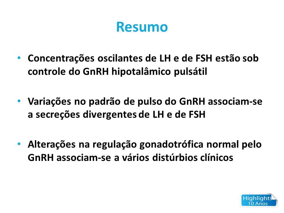 Resumo Concentrações oscilantes de LH e de FSH estão sob controle do GnRH hipotalâmico pulsátil Variações no padrão de pulso do GnRH associam-se a sec