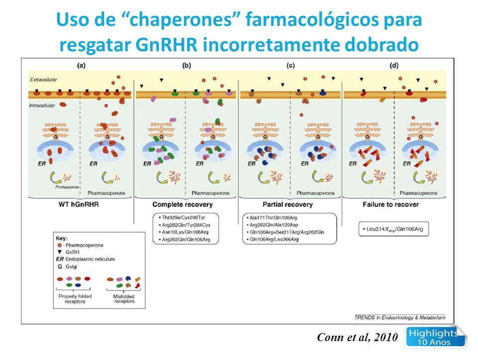 """Conn et al, 2010 Uso de """"chaperones"""" farmacológicos para resgatar GnRHR incorretamente dobrado"""