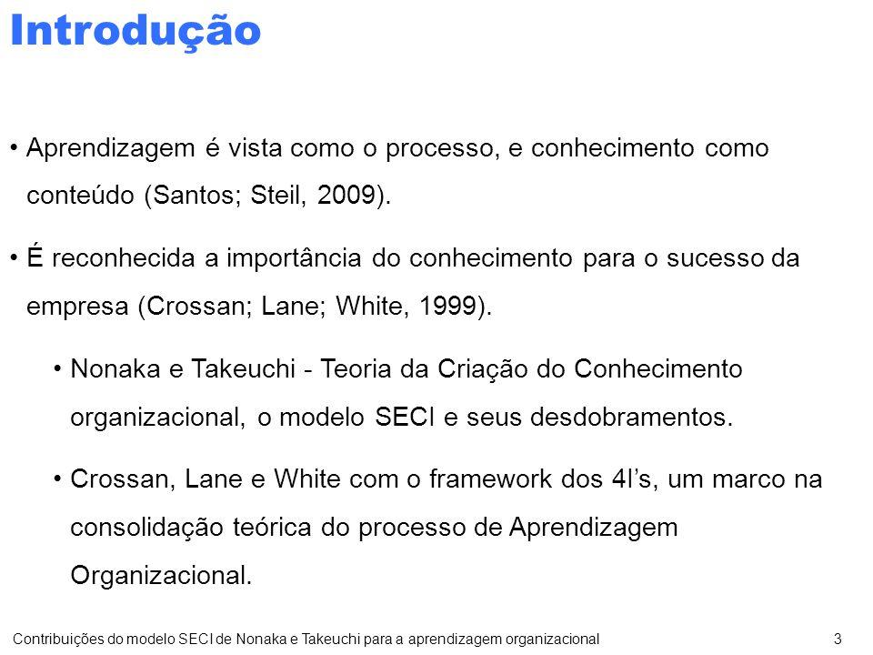 Aprendizagem é vista como o processo, e conhecimento como conteúdo (Santos; Steil, 2009).