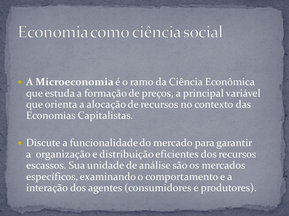 A Microeconomia é o ramo da Ciência Econômica que estuda a formação de preços, a principal variável que orienta a alocação de recursos no contexto das