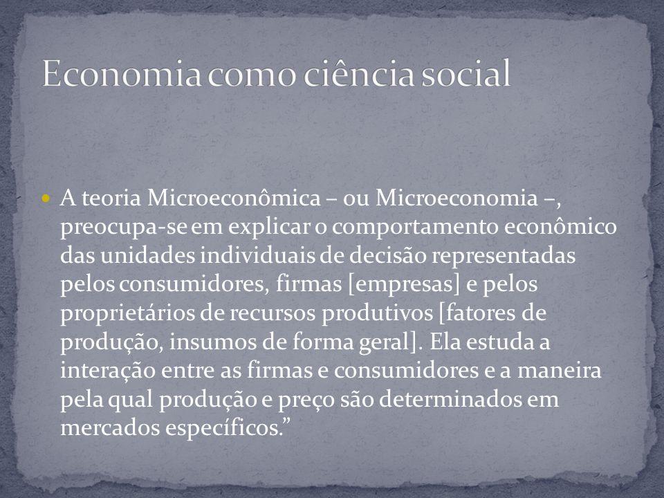 A teoria Microeconômica – ou Microeconomia –, preocupa-se em explicar o comportamento econômico das unidades individuais de decisão representadas pelo