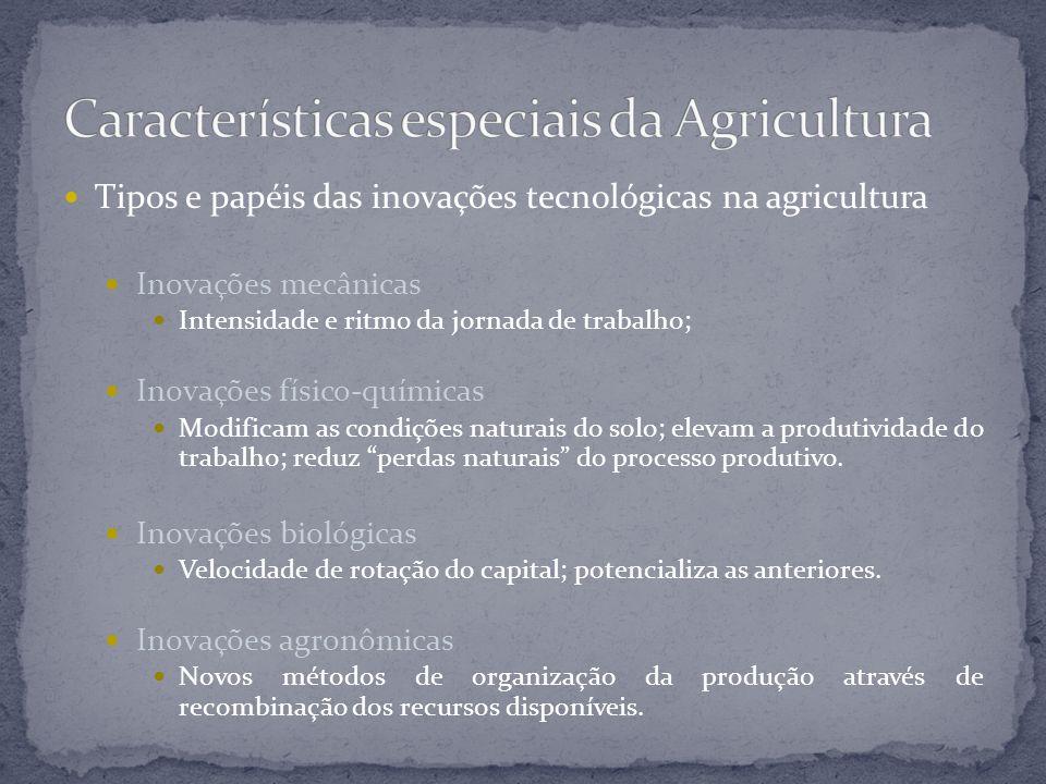 Tipos e papéis das inovações tecnológicas na agricultura Inovações mecânicas Intensidade e ritmo da jornada de trabalho; Inovações físico-químicas Mod