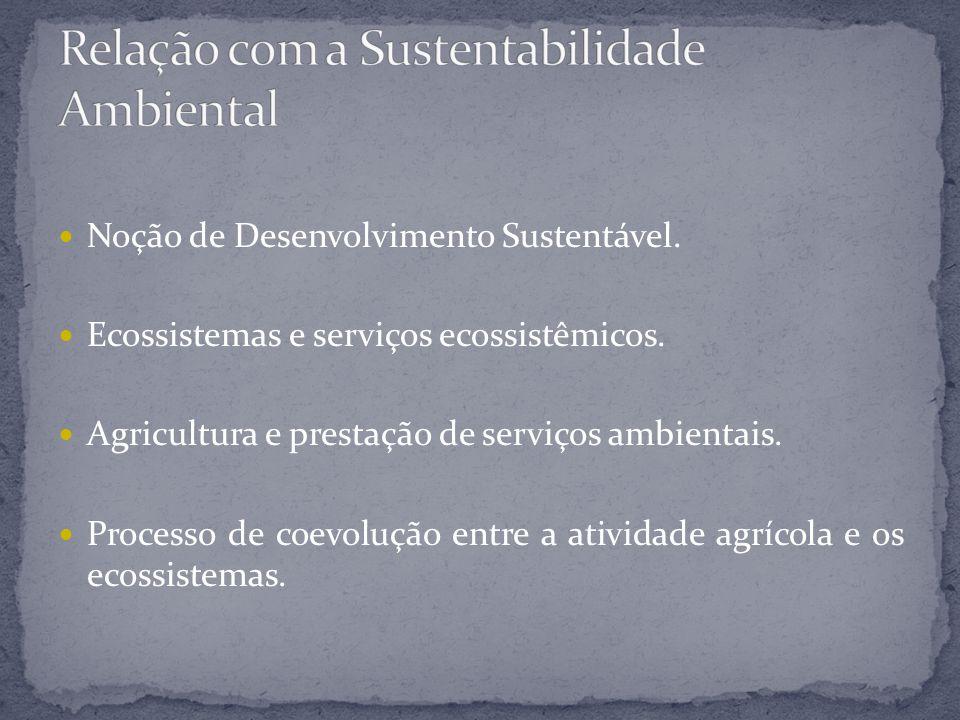 Noção de Desenvolvimento Sustentável. Ecossistemas e serviços ecossistêmicos. Agricultura e prestação de serviços ambientais. Processo de coevolução e