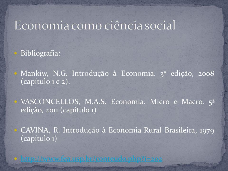 Bibliografia: Mankiw, N.G. Introdução à Economia. 3ª edição, 2008 (capítulo 1 e 2). VASCONCELLOS, M.A.S. Economia: Micro e Macro. 5ª edição, 2011 (cap