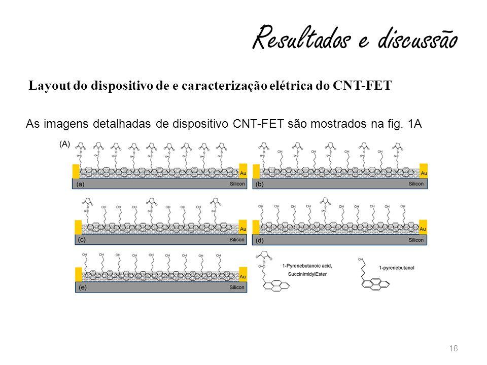 18 Resultados e discussão Layout do dispositivo de e caracterização elétrica do CNT-FET As imagens detalhadas de dispositivo CNT-FET são mostrados na fig.