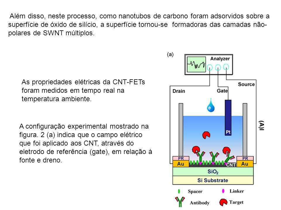 20 Além disso, neste processo, como nanotubos de carbono foram adsorvidos sobre a superfície de óxido de silício, a superfície tornou-se formadoras das camadas não- polares de SWNT múltiplos.