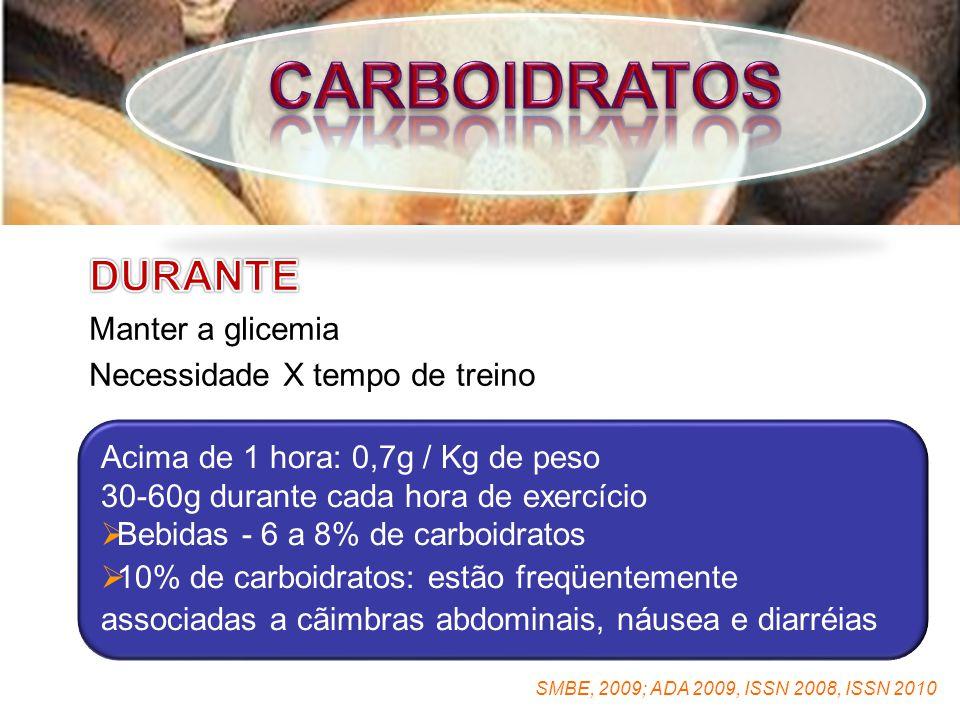 Acima de 1 hora: 0,7g / Kg de peso 30-60g durante cada hora de exercício  Bebidas - 6 a 8% de carboidratos  10% de carboidratos: estão freqüentemente associadas a cãimbras abdominais, náusea e diarréias