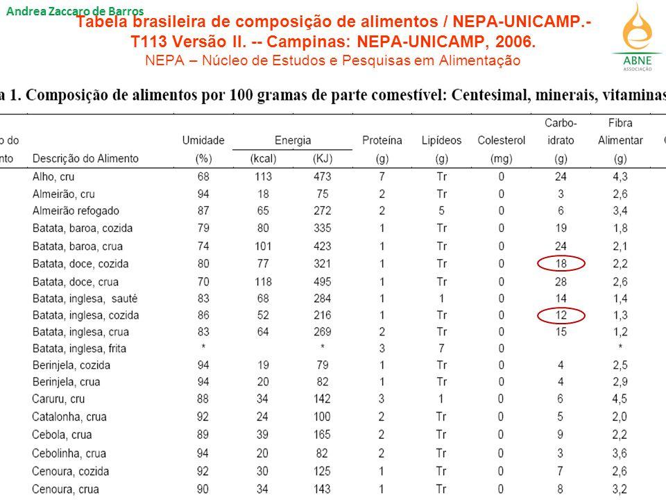 Tabela brasileira de composição de alimentos / NEPA-UNICAMP.- T113 Versão II.